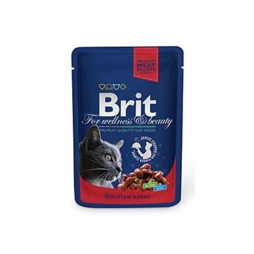 Brit premium 100g cat kapsička beef stew+peas v omáčce