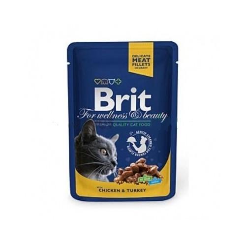 Brit premium 100g cat kapsička chicken +turkey v omáčce