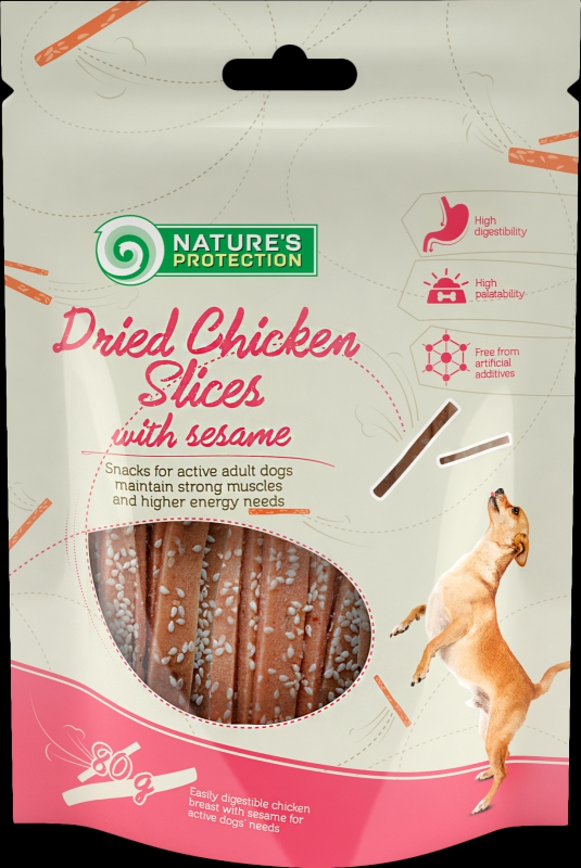 Natures Protection snack kuřecí nudličky se sezamovými semínky 80g