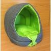 Bouda s polštářem Trendy 40x38x41cm květy výšivka šedá+zelená-94
