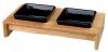 Keramické misky čtveraté v dřevěném stojánku 2x0,2l/10cm