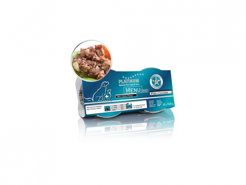 PLATINUM NATURAL MENU MINI FISH & CHICKEN - RYBY & KUŘE 4X100G